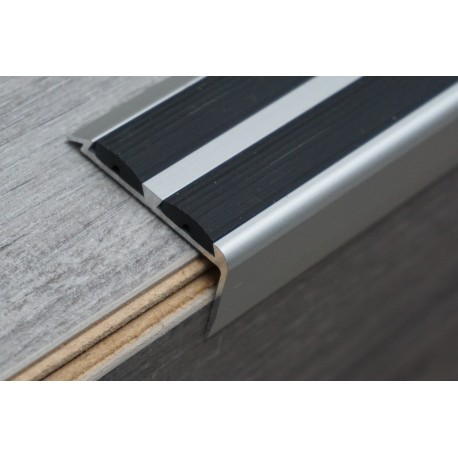 Aluminum Stair Profiles With Double Anti Slip Rubber Insert