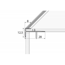 C 23 Aluminium F - shape stair profile, for use with elastic floors up to a thickness of 3 mm