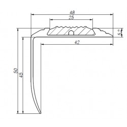 Aluminium angle profile STP- XL with dimensions 50 x 48mm